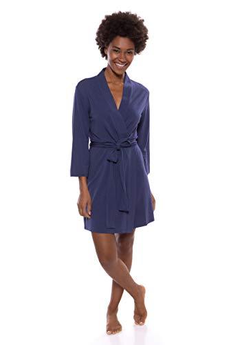 TexereSilk Women's Short Jersey Kimono Robe (Oarla, Gulf Blue, M) Comfortable Loungewear (Kimono Jersey)