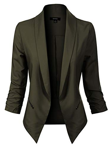Green Corduroy Blazer - MixMatchy Women's Solid Open Front 3/4 Sleeve Side Zipper Pocket Formal Style Blazer Olive 2XL