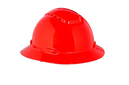 3M Full Brim Hard Hat H-805V, Red 4-Point Ratchet Suspension, Vented from 3M Personal Protective Equipment