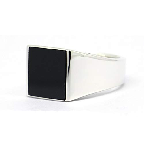 (JWEIMIN1982 Genuine Sterling Silver Mens Black Onyx Square Signet Ring (8))