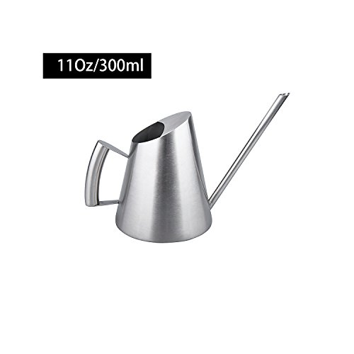 Bonsai Watering Can (IMEEA Watering Can Modern Small Size for Bonsai in the Office or for Kids 11Oz/300ml Brushed Solid SUS304 Stainless Steel)