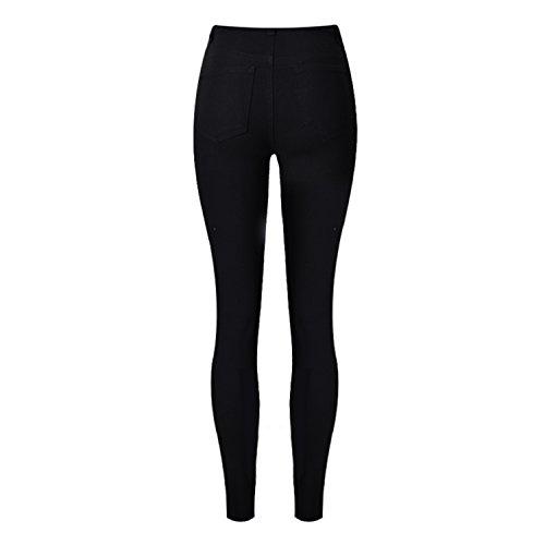 Crayon Leggings Troué Jeans Déchiré Slim Pantalons Femme Collant Casual Petalum Denim Pants Taille Haute 61wzna0