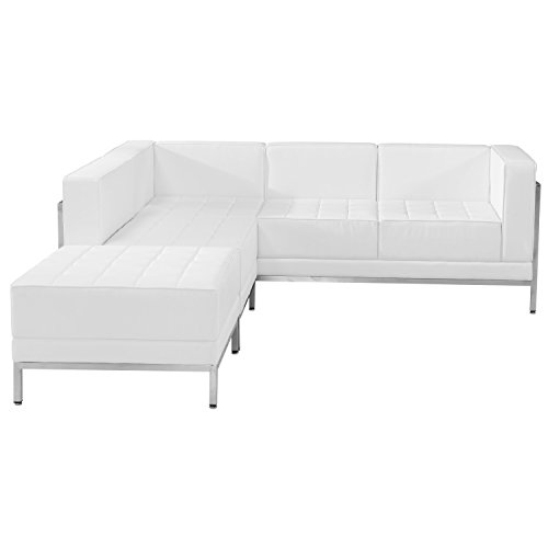 Flash Furniture HERCULES Imagination Series Melrose White Leather Sectional Configuration, 3 Pieces