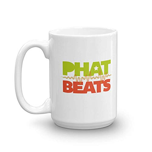 Phat Beats Sound Waves Print Novelty Coffee & Tea Gift Mug Cup, Ornament & Things For A DJ Or Disc Jockey & Hip Hop, Rap, Soul, Funk, Reggae, Chillhop, Acid Jazz, R&B Or Electronic Music Lover (15oz)