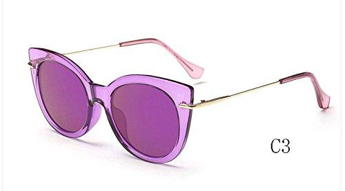 de 025 de C3 gafas TL de sol tonos C7 ojo UV400 sol de espejo de mujeres 025 gato Gafas caramelo Gafas de Sunglasses 01r0qFwO