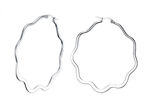 - Huanian Jewelry Women's Stainless Steel Flower shape Large Size Big Hoop Earring Silver, 61.5mm(2.4
