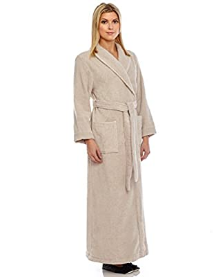 Women's Long Turkish Cotton Robe - Ankle-Length Bathrobe With Belt, By Relax