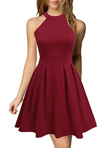 Berydress Women's Formal Short Burgundy Dress Mini Halter Neck Casual Party Cocktail Dresses (L, ()