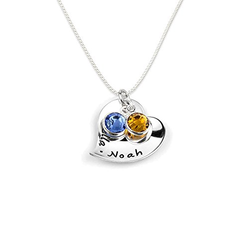 Amore Shiny Sterling Silver Personalized Heart Charm Necklace Includes One Customizable Heart Charm and Up To 2 Swarovski Birthstones. Choice of Sterling Silver Chain (Birthstone Heart Box)
