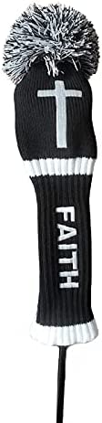 LOXASUM Knitted Golf Club Head Covers 1 3 5 Set Faith Cross Embroidered Gift Original 460cc Driver Wood POM PO