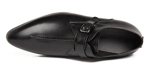 Santimon Hombres Classic Modern Leather Oxford Buckle Gradiente Puntera Zapatos De Vestir Negro 6.5 Us