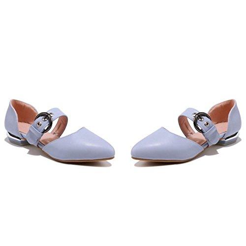 Colegio Sandalias Verano Plano Cerrado Comodo Taoffen Azul Mujer Zapatos Hebilla wS10UUq