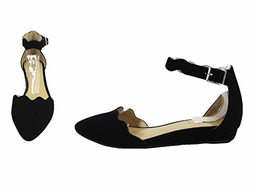 City Classified Womens Mary Jane Laser Waves Cut Ankle Strap Laser Mini Wedge Sandals MVE Shoes Black Nbpu zJrmv776qZ