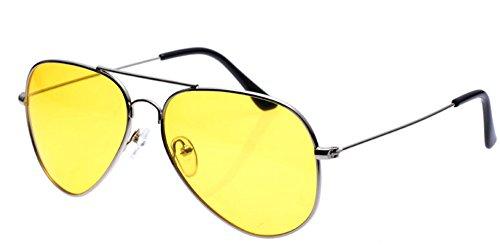 Aoron Night Vision Glasses Silver Frame Yellow Lens Aviator Polarized - Sunglasses Aoron