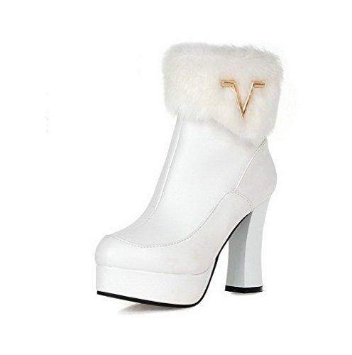 AllhqFashion Damen Hoher Absatz Blend-Materialien Niedrig-Spitze Rein Reißverschluss Stiefel,Weiß,39