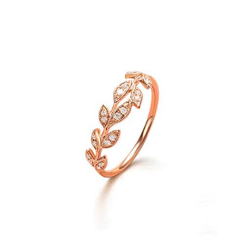- Carleen 18k Solid Rose Gold 0.10ct Diamond Eternity Branch Leaf Ring For Women Girls (7)
