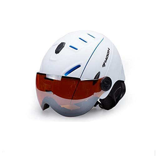 (Snow Ski Helmet with Goggles Integrally-Molded PC+EPS Adult Ski Helmet Outdoor Sports Snowboard Helmet (Color : White, Size : L))