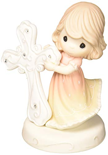 Precious Moments May Faith Guide You Girl Holding Cross Bisque Porcelain Figurine 172013