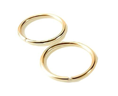 24G 22G 20G 18G 16G 14K Yellow Gold Filled Seamless Sleeper Hoop Earrings 6MM-16MM