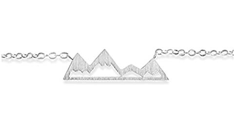Mountain Snowy Necklace For Nature Enthusiasts, Skiers, Snowboarders, Hikers, Campers (Gold, Silver, Rose Gold) (Silver - Everest Rose