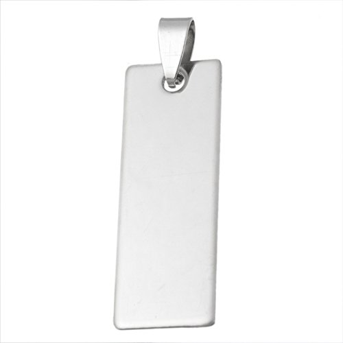 Tone Rectangle Pendant - VALYRIA 10pcs Stainless Steel Polished Blank Stamping Tags Rectangle Charm Pendant,Silver Tone (5.7cmx1.4cm)