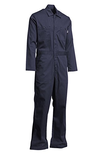 Lapco FR CVEFR7NY-4XL TL Flame Resistant Economy Coveralls, 100% Cotton Twill with Moisture Management, HRC 2, NFPA 70E, 7 oz, 4X-Large Tall, Navy by Lapco FR (Image #3)