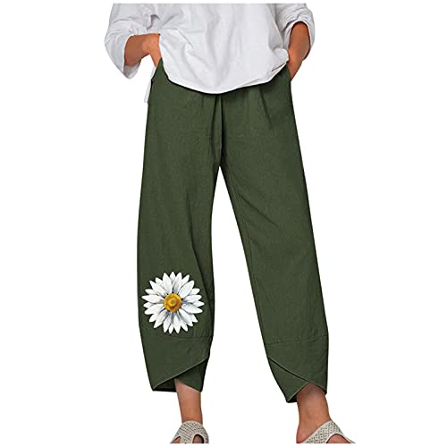 Ladies Trendy Pants, Fashion Trend Casual Chrysanthemum Print Loose Pocket Harem Pants(Green4,M)