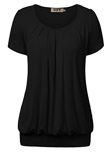 Ruched Front Blouse - DJT Women's Short Sleeve Pleated Front Blouse Tunic Top XX-Large Solid-Black