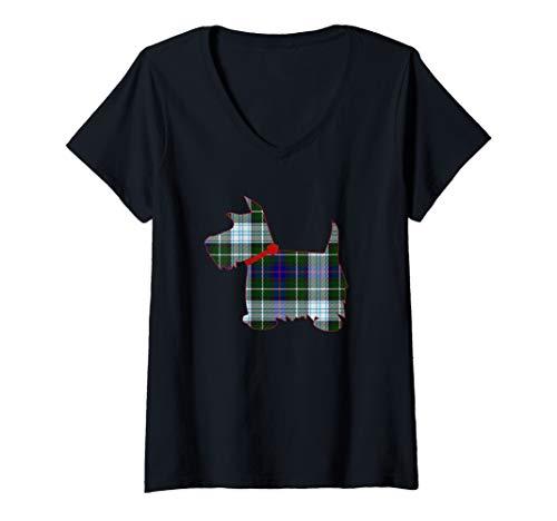 (Womens Scottie Dog Scottish Terrier MacKenzie Tartan Blue Plaid V-Neck T-Shirt)