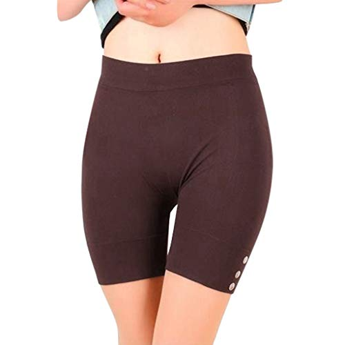 Toponly High Waist Yoga Shorts, Workout Running Shorts with Side Pockets Tummy Control Compression Shorts for Women Coffee