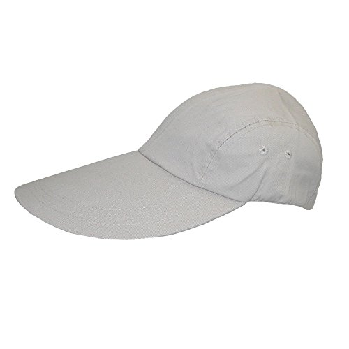 CTM® Long Bill Baseball Cap with Extended 5 Inch Visor color stone  one - Visors Billed Large