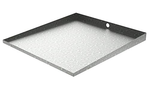 32″ x 30″ Stainless Front-load Washer Tray with Drain (Galvanized Steel)