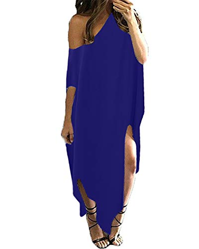 (Kidsform Women Off Shoulder Maxi Dress Striped Casual Loose Kaftan Oversized Beach Cover Up Round Neck Sundress Blue M)