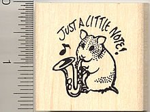 Saxophone Playing Hamster Rubber Stamp, Sax Musical Instrument, Band