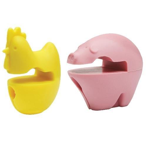 Set of 2 - Fox Run Chicken & Pig Spoon Holder, Rest - Fox Run Silicone