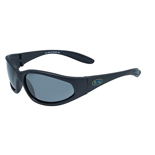 BluWater Polarized Blackfin Line Sunglasses (Matte Black Frame/Smoke Lens, - Blackfin Glasses Frames