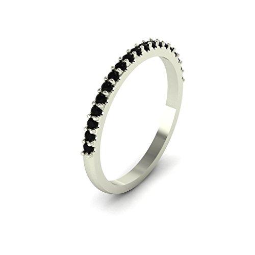 GNGJewel Solid 10k White Gold Black Diamond Stackable Half Eternity Ring Wedding Band (White-Gold, 6)