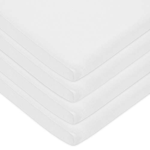 American Baby Company Pack of 4 100% Natural Cotton Jersey Knit 18 x 36 Cradle Sheet, Fitted,White, Soft Breathable, for Boys & Girls