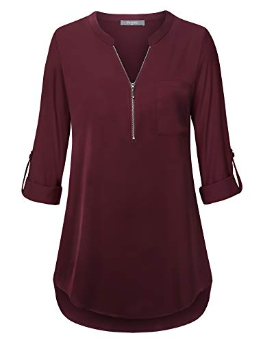 Furnex Tunic Blouses, Womens Casual T-Shirt V Neck Patterned Cuffed Sleeve Office Chiffon Tunic Tops Women Chiffon Blouse Elegant Loose Shirts for Women Business Dark Red L