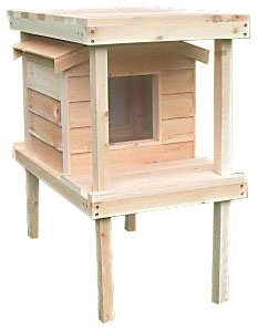 Large Outdoor Cat House with Platform & Loft | Thermal-ply Insulation | Waterproof Shelter | Cedar Construction
