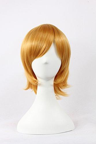 Coolsky Wigs Neon Genesis Evangelion,Light Katekyo Hitman Reborn,Jigoku Shoujo Golden Yellow Hair Cosplay by COOLSKY
