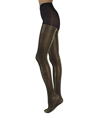 Tights Lurex Gold (OPAQUE LUREX TIGHTS | WOMAN PANTYHOSE WITH GOLD AND SILVER GLITTER | BLACK | 60 DEN | S/M - L/XL | MADE IN ITALY (L/XL, Black/Gold))