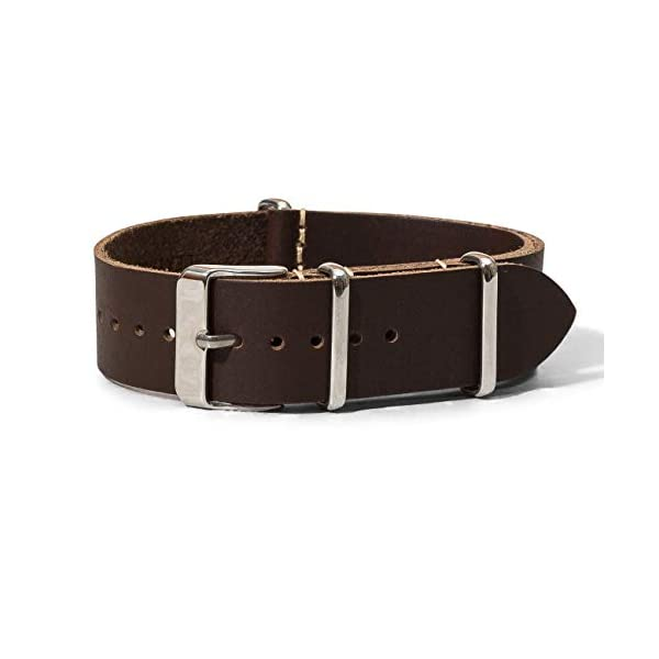 Benchmark Basics 18, 20, 22mm Dark Brown Horween Chromexcel CXL Pull-Up Leather NATO Watchband