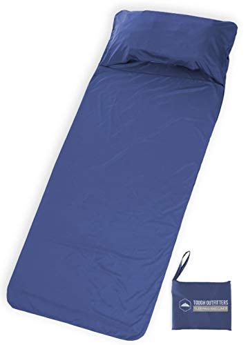 Tough Outdoors XL Sleeping Bag Liner - Travel Sheet & Sleep Sack for Adults - Lightweight & Ideal for Camping, Traveling, Hotels & Backpacking - Smooth & Breathable ()