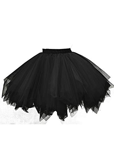 emondora Women's Tutu Tulle Petticoat Ballet Bubble Skirts Short Prom Dress Up Black Size XXL-XXXL ()