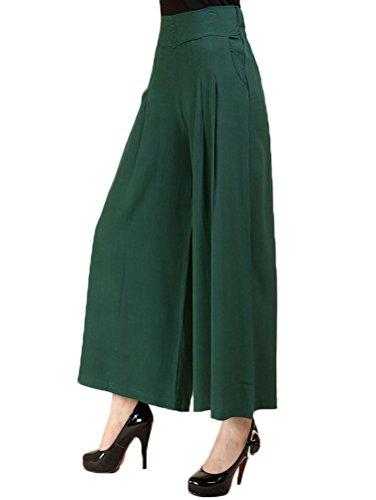 Soojun Women's Summer Lightweight Pleated Palazzo Pants, Dark Green, Medium by Soojun