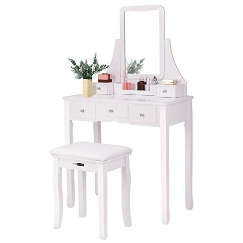 VIVOHOME Makeup Vanity Set with 5 Drawers and 1 Removable Organizer, Dressing - Style Mirrors Art Bathroom Cabinet Deco