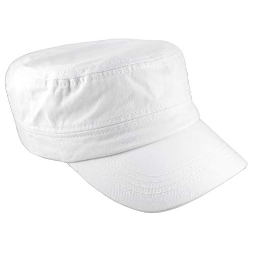 Gelante Cadet Caps 100% Breathable Cotton Plain Flat Top Twill Militray Style with Adjustable Strap. G005-White