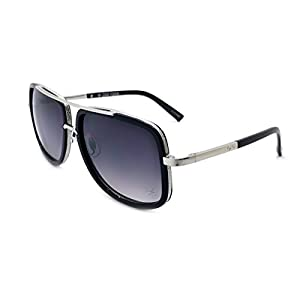 Zoo York Men's Rectangle Sunglasses, Black Frame with Silver Temple, APG Smoke Lens, 58mm