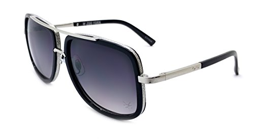 Zoo York Men's Rectangle Sunglasses, Black Frame with Silver Temple, APG Smoke Lens, - York Zoo Eyewear